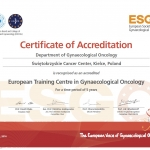 Akredytacja i tytuł European Training Centre in Gynaecological Oncology dla Kliniki Ginekologii ŚCO