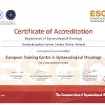 Akredytacja i tytuł European Training Centre in Gynaecological Oncology dla Kliniki Ginekologii ŚCO